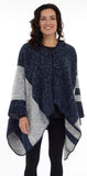 Reversible Cape with Button Closure- Denim Stripe (CP-24)
