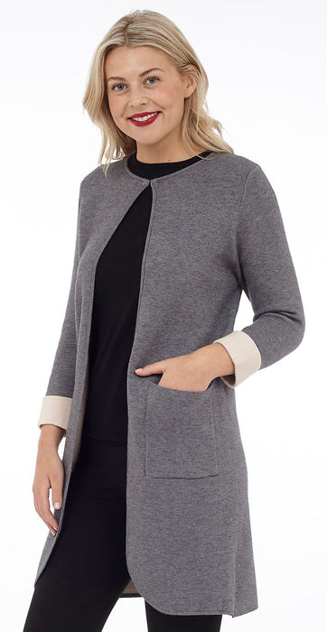 Two Tone Open Jacket with Patch Pockets (DK-702)