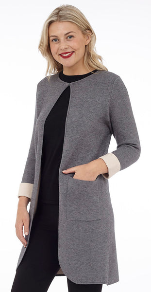 Two Tone Open Sweater with Patch Pockets (DK-702)