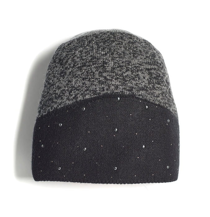 Marron Ladies Two-Tone BEJEWELLED Knit Hat