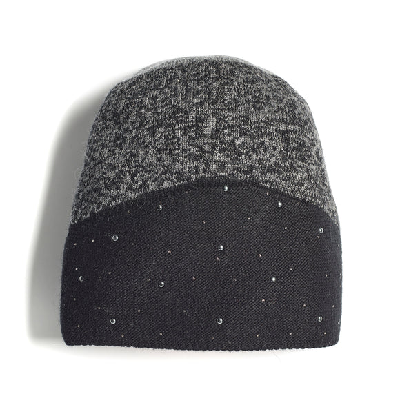 Ladies Two-Tone Bejewelled Knit Hat