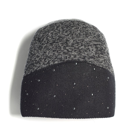 Ladies Two-Tone Bejewelled Knit Hat (MAK1815LH)