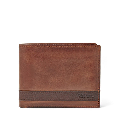 Leather Men's Bifold Wallet with L-Zip Quinn Collection