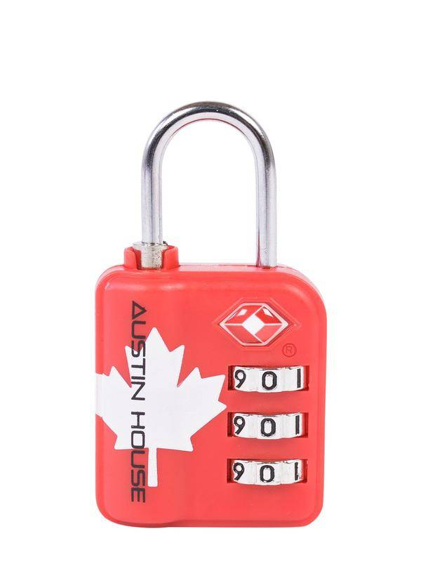Austin House Travel Sentry 3-Dial Combination Padlock (Maple Leaf) (AH95CL01)