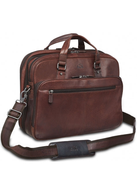 Leather Briefcase Expandable Double Compartment (99-5467)