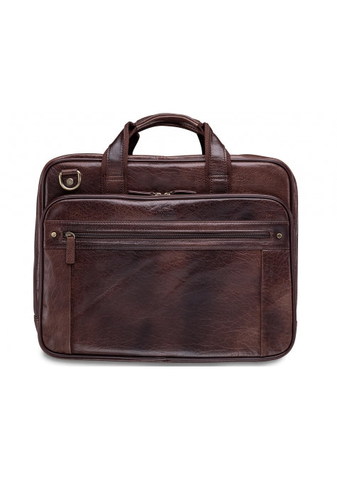 Leather Briefcase Double Compartment for Laptop/Tablet (1410-02)