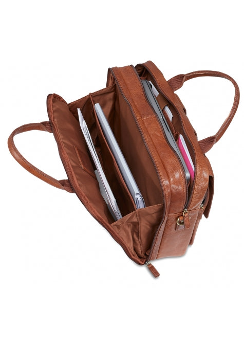 Leather Briefcase Double Compartment for Laptop/Tablet (1410-10)