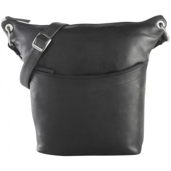 Leather Ladies' Handbag North/South Top Zip Bucket (CP-8688)