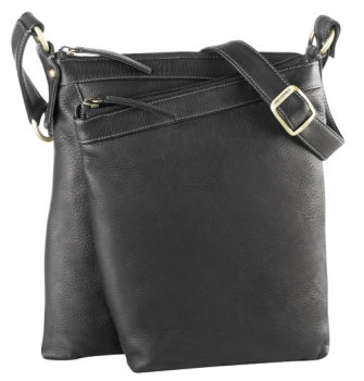Leather Ladies' Handbag Slim North/South 2 Compartment Top Zip Organizer (DR 8007)