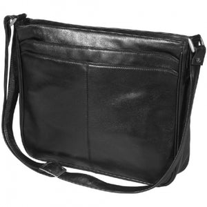 Leather Ladies' Handbag Triple Compartment Top Zip (OB-7122)