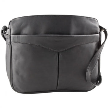 Leather Handbag East/West Triple Top Zip with Organizer (OB-9035)