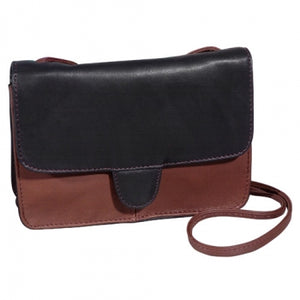 Leather Ladies' Handbag Small E/W Half Flap Crossbody (OB-9518)