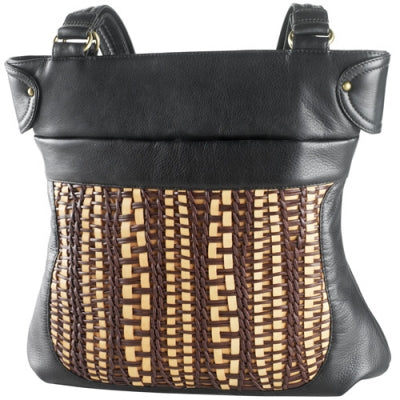 Leather Ladies' Handbag Top Zip Hour Glass Woven Front (FB-1995)