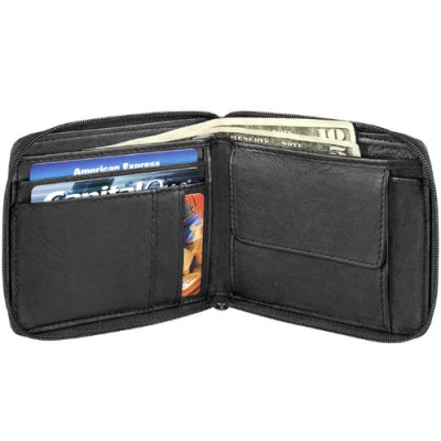 Leather Men's Wallet Full Zip Billfold (AZ-430)