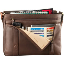 Load image into Gallery viewer, Leather Messenger Bag East/West 3/4 Flap  (PB-8122)