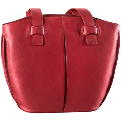 Leather Ladies' Handbag Bucket with 2 Inset Top Zips (CP-8793)