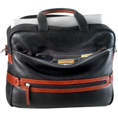 Leather Ladies' Briefcase Top Zip Compartment with 2 Drop Pockets (PB-8206)