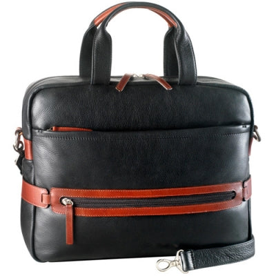 Leather Briefcase Ladies' Top Zip Compartment with 2 Drop Pockets (PB-8206)