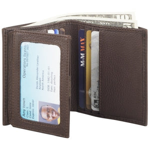 Leather Men's Wallet Trifold with ID Wing (CP-8443)