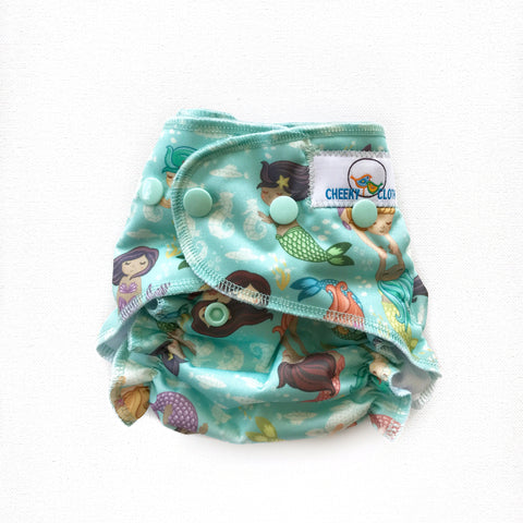 "Cheeky Cloth One Size Reusable Swim Diaper ""Mermaids"""
