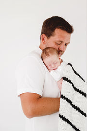 Wool Baby Blanket with Black and White Stripes