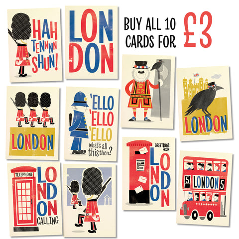 Retro London Postcard Bundle: 10 cards – save £3