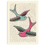 Pretty In Pink A4 Print: Bluebirds