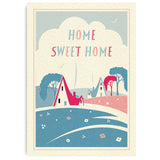Pretty In Pink A4 Print: Cottages