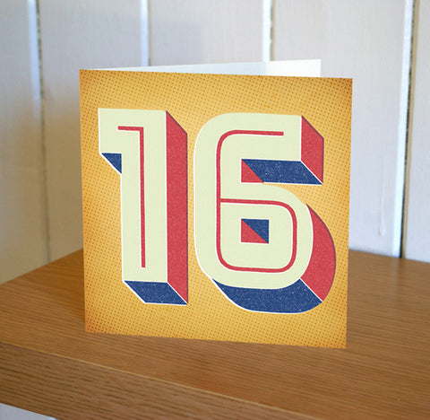 Retro Styled 16th Birthday Card