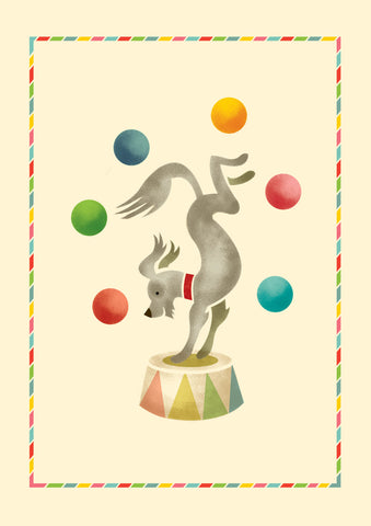 Big Top A4 Print: Juggling Dog