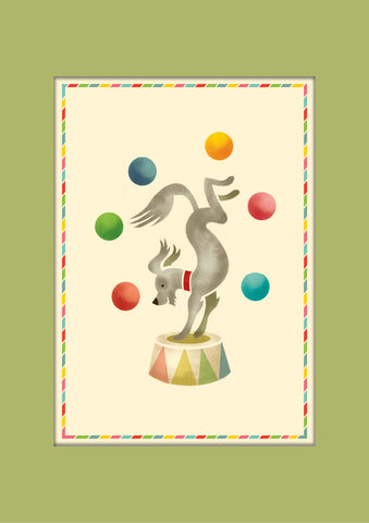 Juggling Dog Print, Ready to Frame in A3 Mount