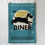 Hungry Hound Diner cotton tea towel, Blue