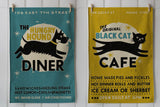 Black Cat Café cotton tea towel, Mustard