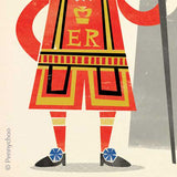 Retro London Postcard: Beefeater