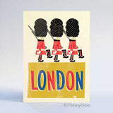 Retro London Postcard: Marching Guardsman