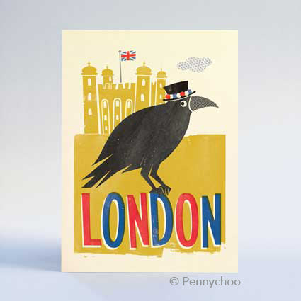 Retro London Postcard: Tower Raven