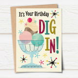 'Dig In' Midcentury Styled Birthday Card