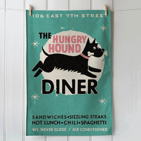 Hungry Hound Diner cotton tea towel, Jade