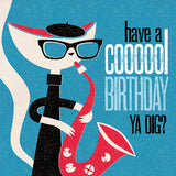 Jazz Cat 'Cooool' Birthday Card