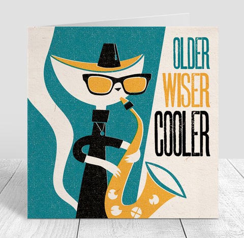Jazz Cat 'Older, Wiser, Cooler' Birthday Card