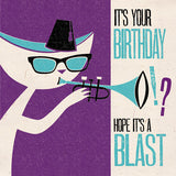 Jazz Cat Birthday Blast Card
