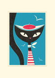 Sailor Jazz Cat, Ready to Frame in A3 Mount