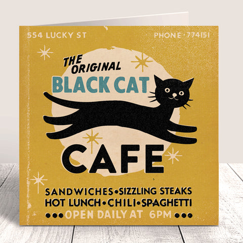Matchbook 'Black Cat Cafe' Greetings Card – Mustard