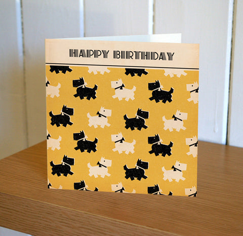 Black and White Scotty Dogs Birthday Card