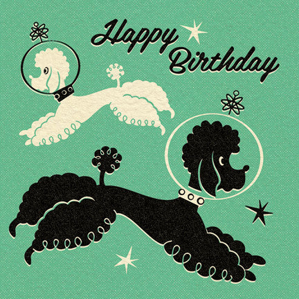 Poodles In Space Birthday Card Pennychoo