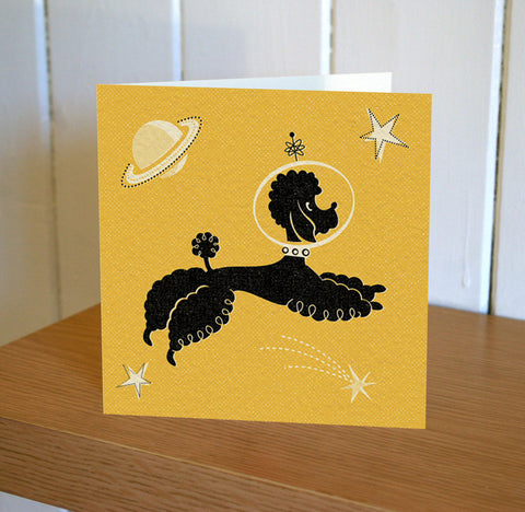 Poodle In Space Greetings Card