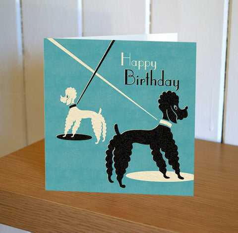 Poodles Happy Birthday Card