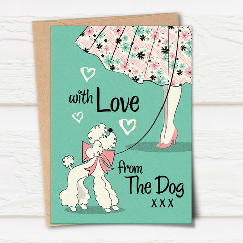'With Love From The Dog' Poodle Greetings Card