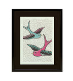 Pretty In Pink Bluebirds Print, Framed