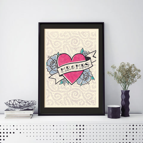 Pretty In Pink Wedding Heart Print, Framed